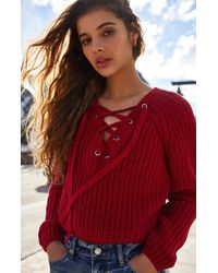 d7c0922f6f Lyst - Kendall + Kylie Mock Neck Choker Pullover in Natural