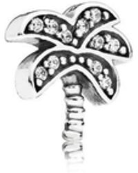 PANDORA - Sparkling Palm Tree Petite Locket Charm - Lyst