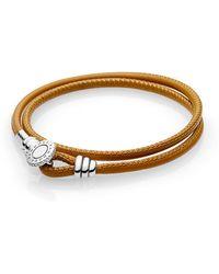 PANDORA - Moments Double Leather Bracelet, Golden Tan - Lyst