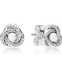 PANDORA - Luminous Love Knots Stud Earrings - Lyst