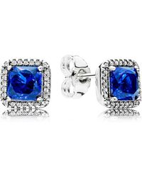 PANDORA - Blue Timeless Elegance Stud Earrings - Lyst