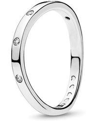 25e11276a PANDORA Swirling Symmetry Ring in Metallic - Lyst