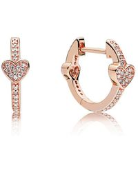 PANDORA - Alluring Hearts Hoop Earrings - Lyst
