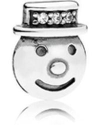 PANDORA - Happy Snowman Petite Locket Charm - Lyst