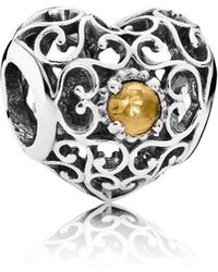 PANDORA - November Signature Heart Birthstone Charm - Lyst