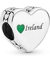 PANDORA - Ireland Love Heart Charm - Lyst