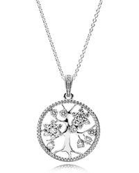 PANDORA - Family Tree Necklace - Lyst