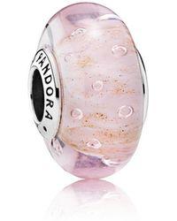 PANDORA - Pink Glitter Murano Charm - Lyst