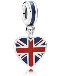 PANDORA - Great Britain Heart Flag Pendant Charm - Lyst