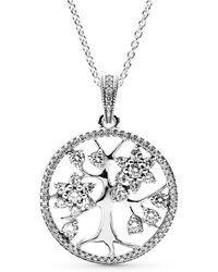 PANDORA - Sparkling Family Tree Necklace - Lyst