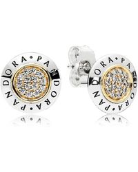PANDORA - Signature Stud Earrings - Lyst