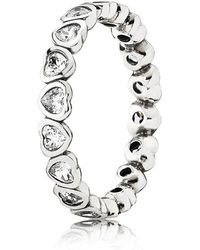 PANDORA - Sparkling Heart Stacking Ring - Lyst