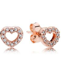 PANDORA - Captured Hearts Stud Earrings - Lyst