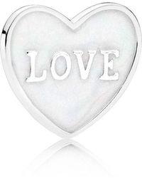 PANDORA - Love Heart Locket Plate - Small - Lyst