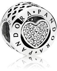 PANDORA - Signature Heart Charm - Lyst
