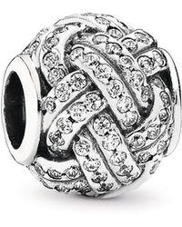 PANDORA - Sparkling Love Knot Charm - Lyst