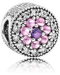 PANDORA - Dazzling Floral Charm - Lyst