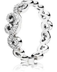 PANDORA - Heart Swirls Ring - Lyst
