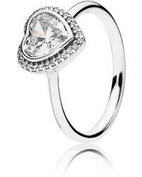 PANDORA - Sparkling Heart Ring - Lyst