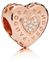 PANDORA - Rose Logo Heart Charm - Lyst