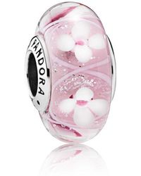 PANDORA - Pink Bloom Murano Glass Charm - Lyst