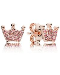 PANDORA - Pink Enchanted Crowns Stud Earrings - Lyst