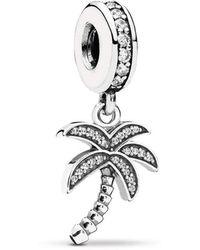 PANDORA - Sparkling Palm Tree Dangle Charm - Lyst