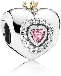 PANDORA - Pink Princess Heart Charm - Lyst