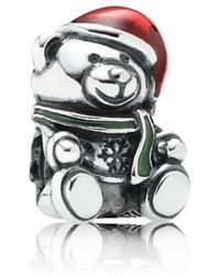 PANDORA - Christmas Teddy Bear Charm - Lyst