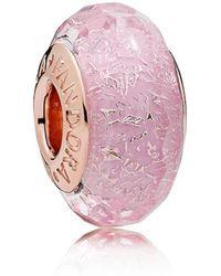 PANDORA - Pink Shimmer Glass Murano Charm - Lyst