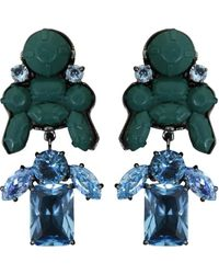 EK Thongprasert | Stepney Drop Earrings Dark Green/light Blue Crystals | Lyst