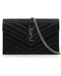 Saint Laurent - Monogramme Envelope Quilted Chain Wallet Black/silver - Lyst