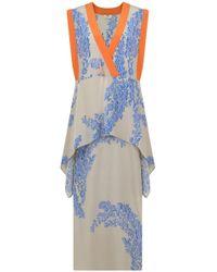 Fendi - Floral Print Asymmetric Dress Beige - Lyst