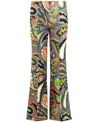 Emilio Pucci - Paisley Print Flared Pants Grey/green - Lyst