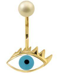 Delfina Delettrez - Eye Piercing Earring Gold/turquoise - Lyst