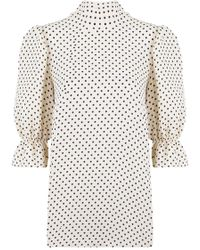 Valentino - Polka Dot Print Blouse Ivory/black - Lyst