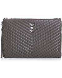 Saint Laurent - Monogramme Large Quilted Pouch Earth/silver - Lyst