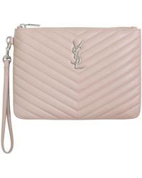 Saint Laurent - Monogramme Quilted Pouch Marble Pink - Lyst