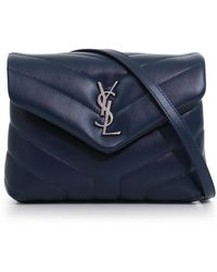 Saint Laurent - Loulou Toy Strap Bag Navy/silver - Lyst