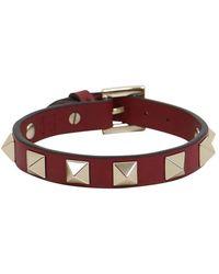 Valentino | Rockstud Leather Cuff Rosso | Lyst