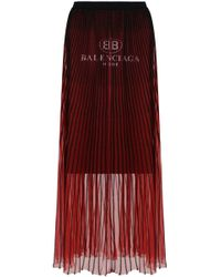 Balenciaga - Logo Pleated Calf Skirt Red - Lyst