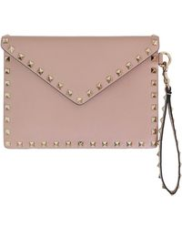 Valentino - Small Rockstud Envelope Pouch Smooth Leather Poudre - Lyst