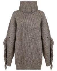 Stella McCartney | Asymmetric Fringing Turtleneck Knit Jumper Moss | Lyst