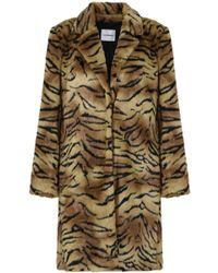Vilshenko - Faux Fur Tiger Print Coat Brown/multi - Lyst