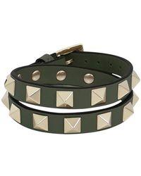 Valentino - Rockstud Wrap Leather Cuff Oasis - Lyst