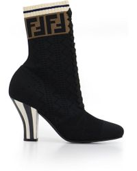 Fendi - Rocco Logo 85mm Heel Boot Black - Lyst
