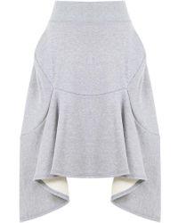 Junya Watanabe - Flowy Panel Jersey Skirt Grey - Lyst