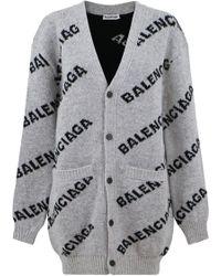 Balenciaga - Logo Oversized Cardigan Grey/black - Lyst