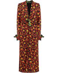 Proenza Schouler - V-neck Midi Dress L/s Poppy Print Red - Lyst