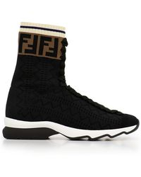 Fendi - Rock Logo Top Flat Boot Black - Lyst